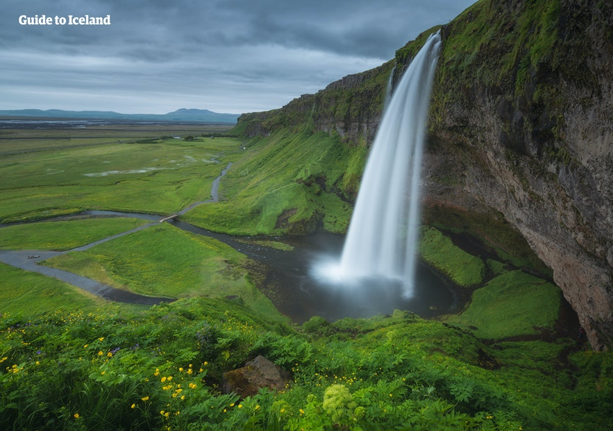 Seljalandsfoss waterfall is a world-famous feature of Iceland.