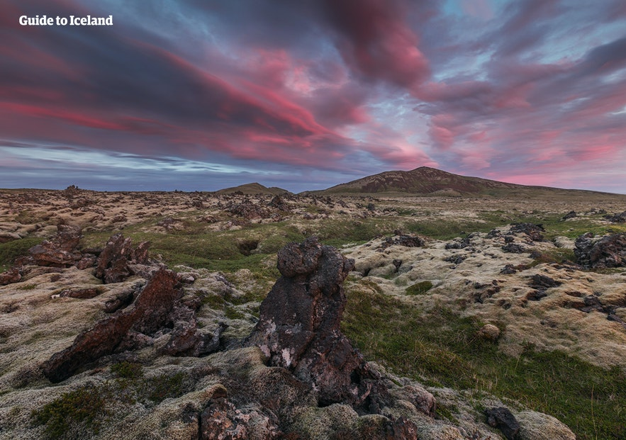 Lava fields across the Snaefellsnes Peninsula.