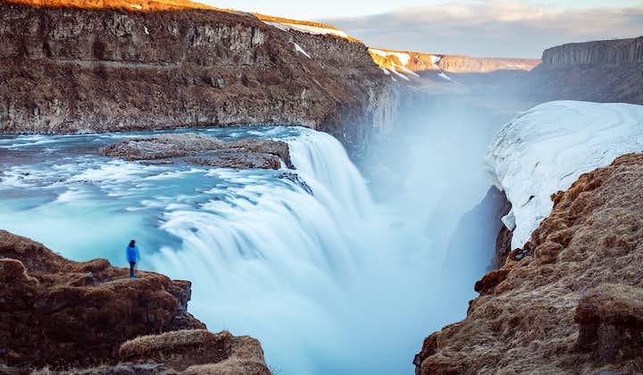 An enormous amount of water falls form the Gullfoss waterfall from Hvítá river.