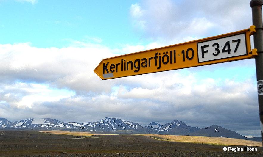 Mt. Kerlingarfjöll and the road sign