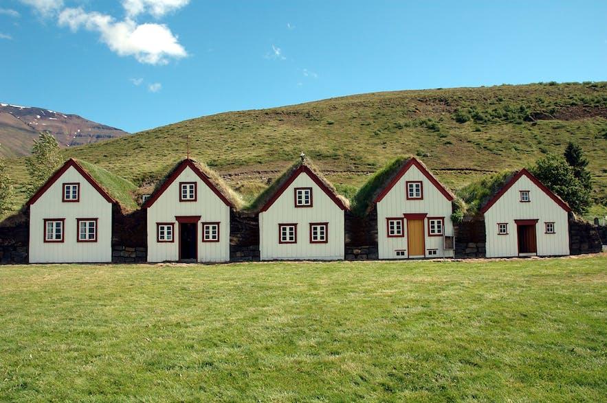 neat row of turf houses in Laufás