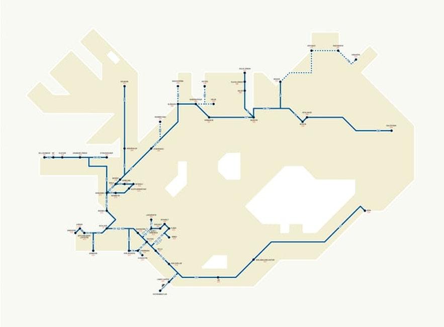 Et kart som viser enkelte av bussrutene på Island.