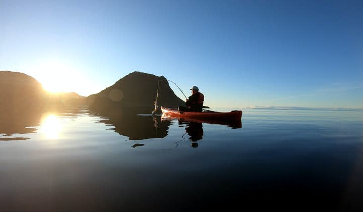 Don't miss out on the unique opportunity to combine fishing and kayaking at the base of the iconic Mt. Kirkjufell.
