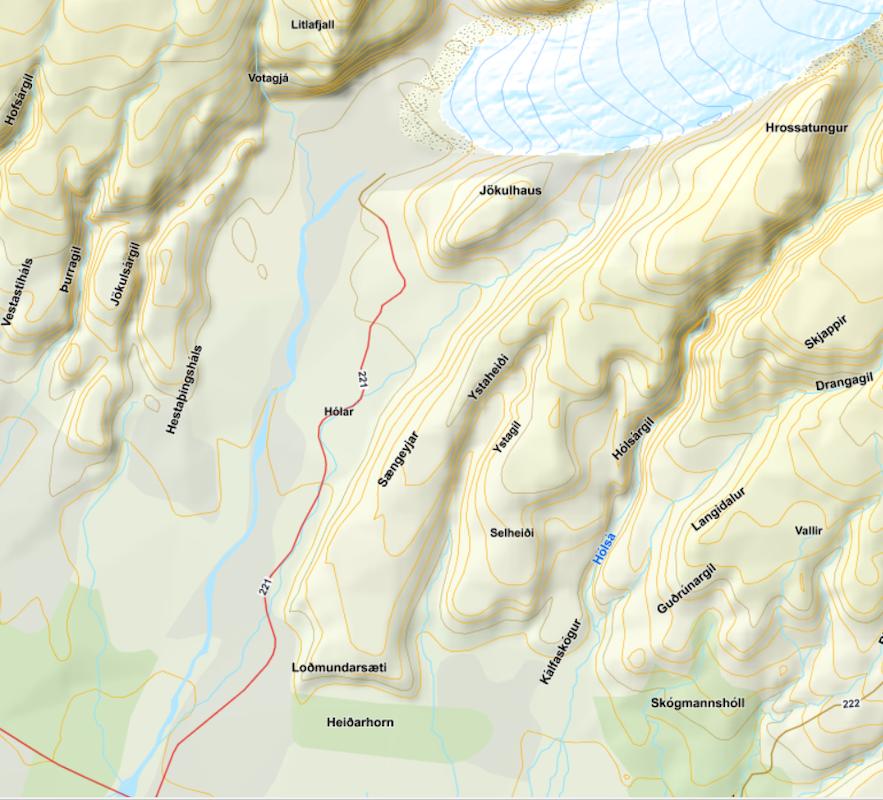 Map from Landmælingar Íslands - the National Land Survey of Iceland