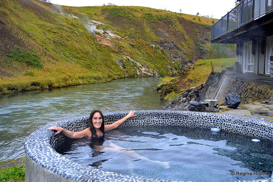 At the Frost and Fire hotel - chilling in the hot tub by Varmá river