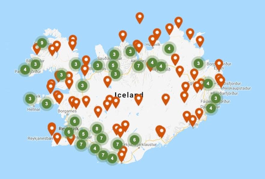 冰島露營營地地圖