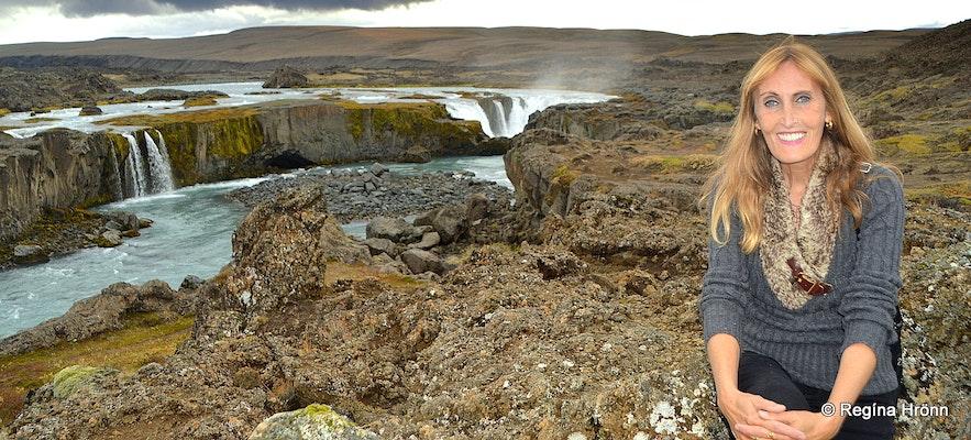 Regína by Hrafnabjargafoss Waterfall in Skjálfandafljót River in North-Iceland