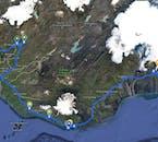 Ta mapa pokazuje Twoją podróż, w tym trasy Złoty Krąg i południowe wybrzeże.