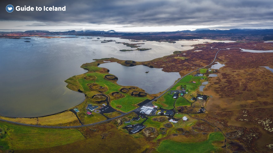 Mývatn is surrounded by other major features in North Iceland, which make up the Diamond Circle.