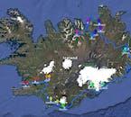 Cette carte montre votre voyage en Islande en vous arrêtant dans toutes les principaux lieux à voir avant de revenir à Reykjavík depuis Akureyri.