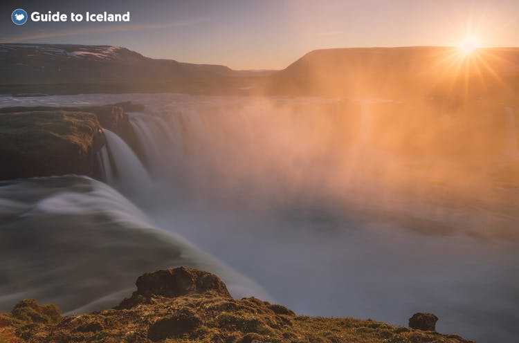 Goðafoss waterfall in North Iceland under the Midnight Sun.