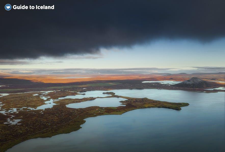 A cloud sweeping over Lake Mývatn.