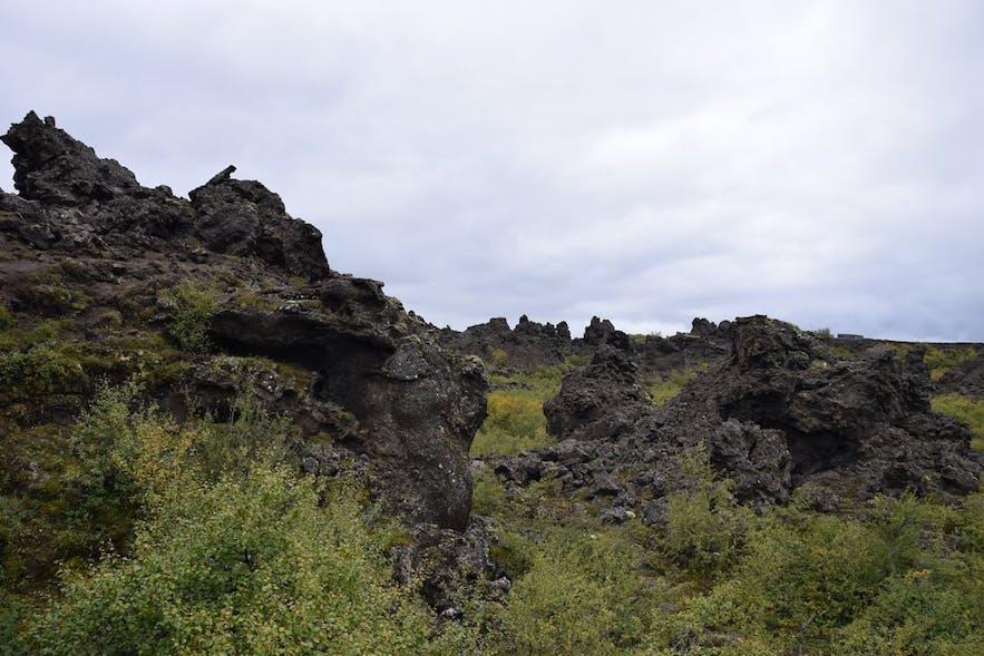どこを見回しても不思議な溶岩石が聳えている