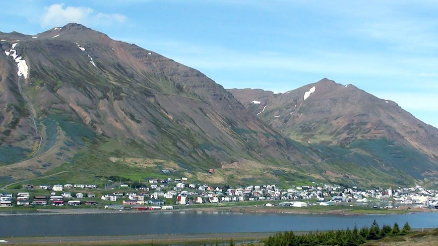 Siglufjörður in North Iceland, with mountains in the background.