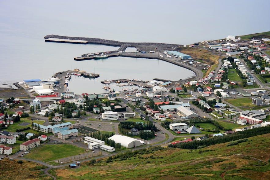 An aerial view over Húsavík.