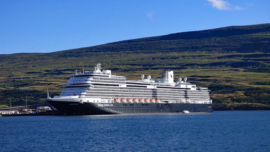 A cruise ship near the northern town of Akureyri.