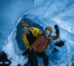 The crystal blue ice caves present a great group bonding activity.
