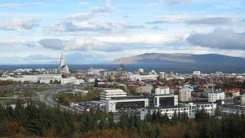 The city of Reykjavík in the summer.