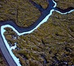 Une perspective aérienne sur la péninsule de Reykjanes.
