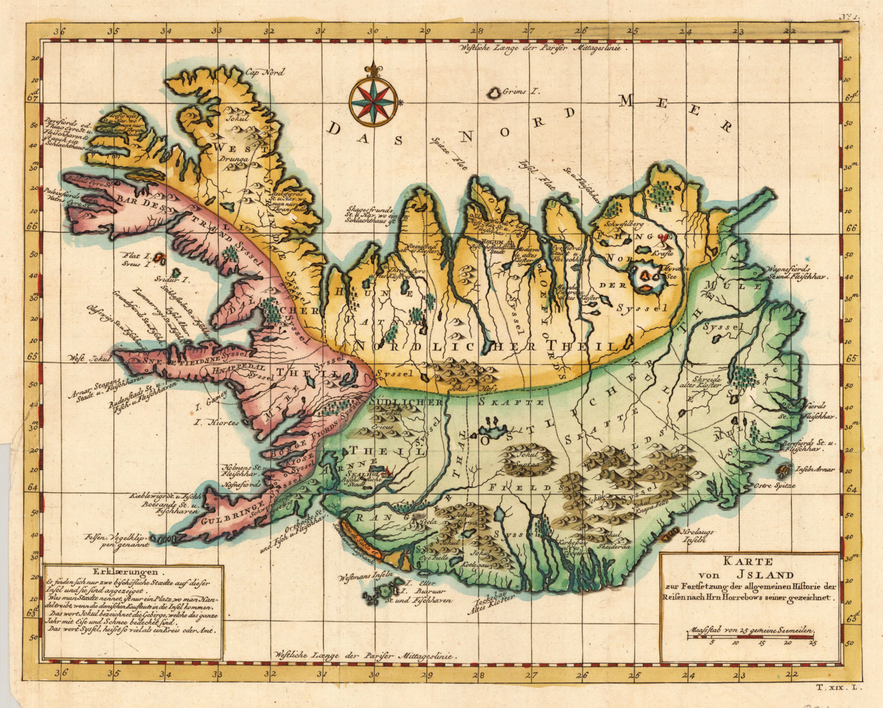 Map of Iceland from 1756, many Icelandic middle names are related to place names.