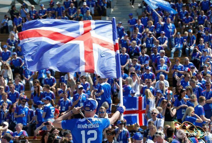 Icelanders supporting the Icelandic men's football team.