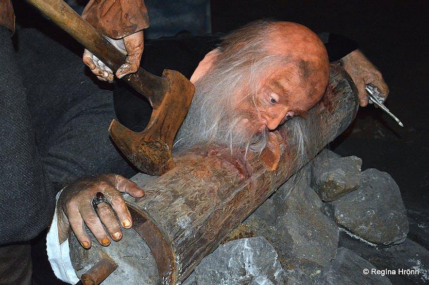Jón Arason beheaded as depicted at the Saga Museum in Reykjavík