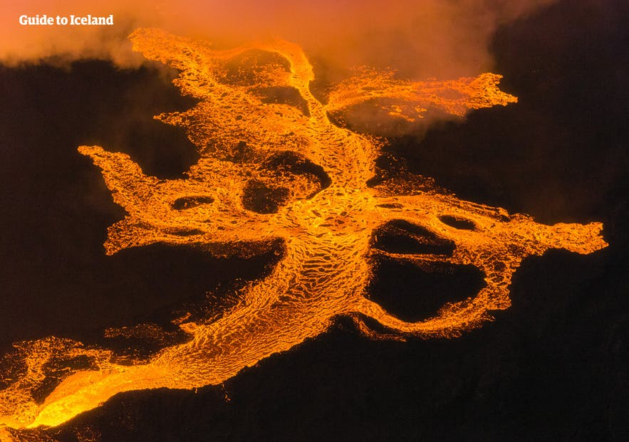 Lava snakes away from the eruption of Holuhraun in the Icelandic highlands.