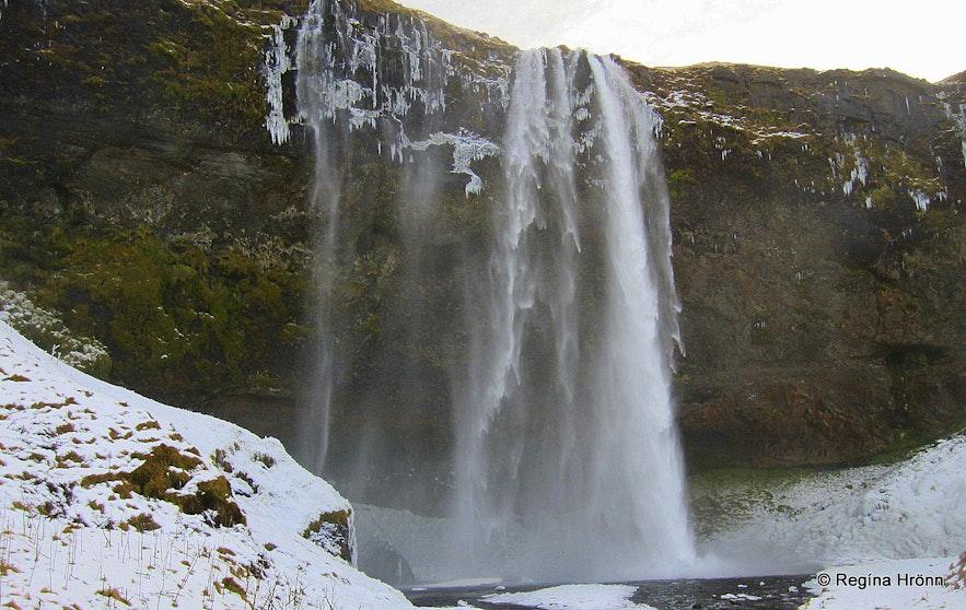 Seljalandsfoss waterfall in the wintertime