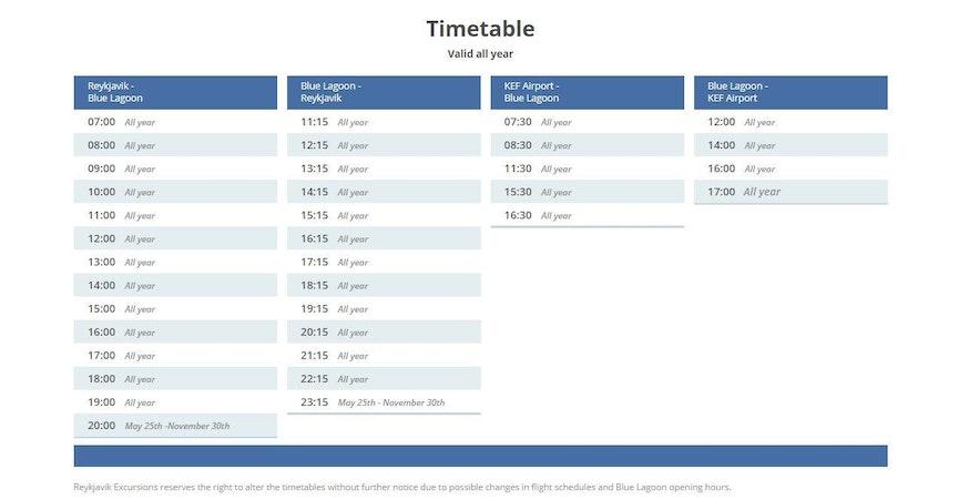 冰島藍湖Flybus 時間表
