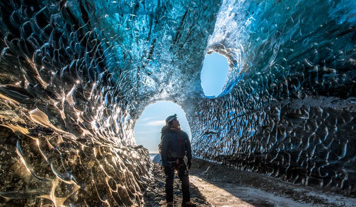 Iceland has glacier caves in its sout-east, that open in winter.