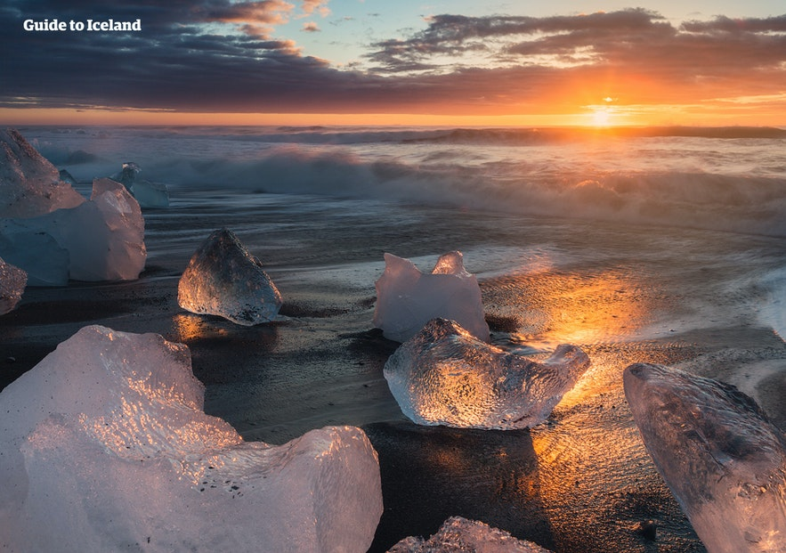 The Diamond Beach in south-east Iceland in the golden hour of photography.