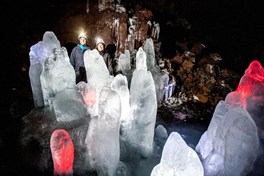 Lofthellir lava cave has permanent sculptures of ice.