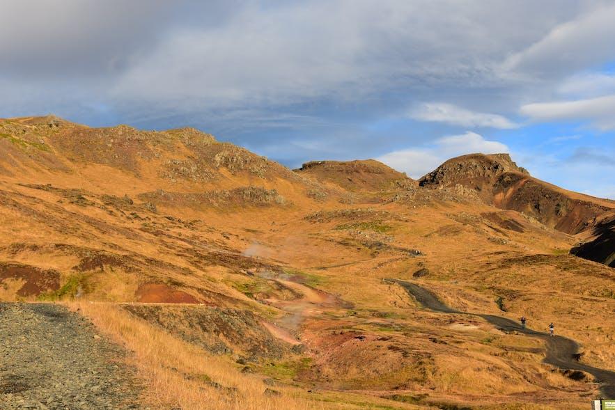 Rauchschwaden von den dampfenden Quellen in Reykjadalur Island