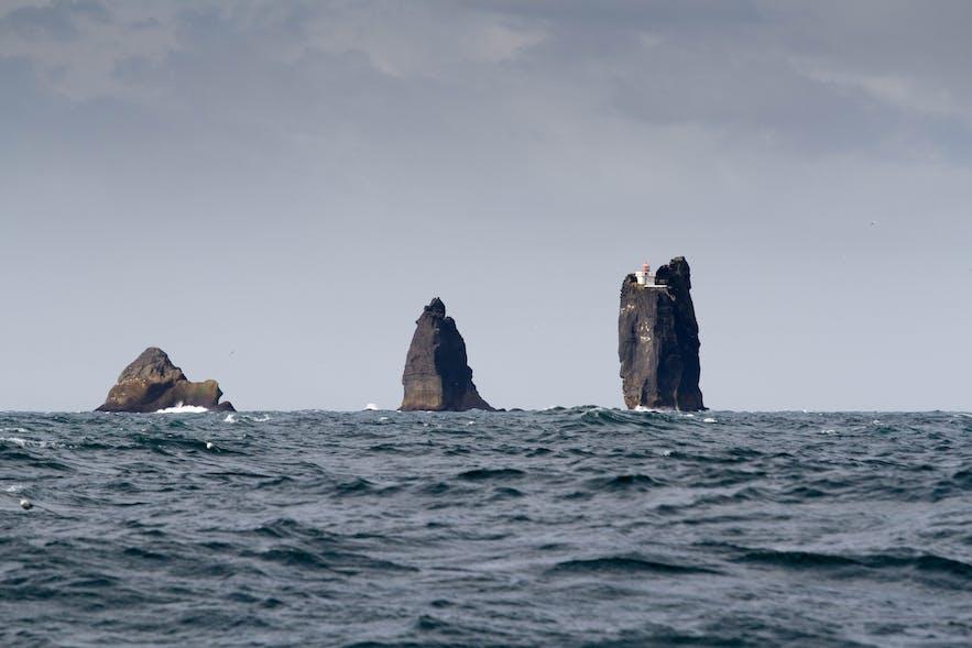 冰岛西人岛附近、戏剧性的Thridrangaviti灯塔