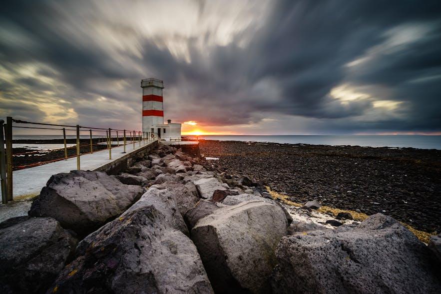 位于冰岛雷克亚内斯半岛上的Gardskagaviti灯塔