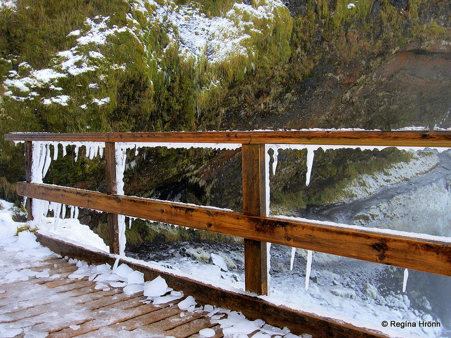 Ice and icicles on the path to Seljalandsfoss waterfall