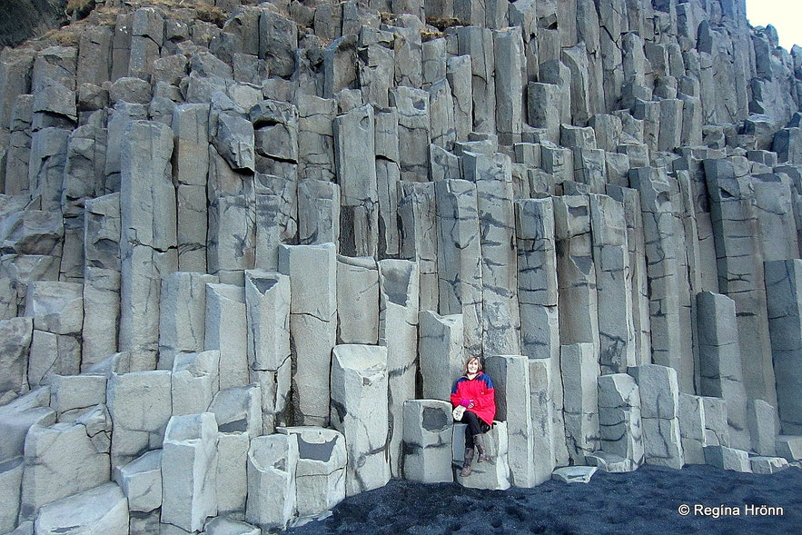 Regína By the basalt columns by Reynisfjara beach