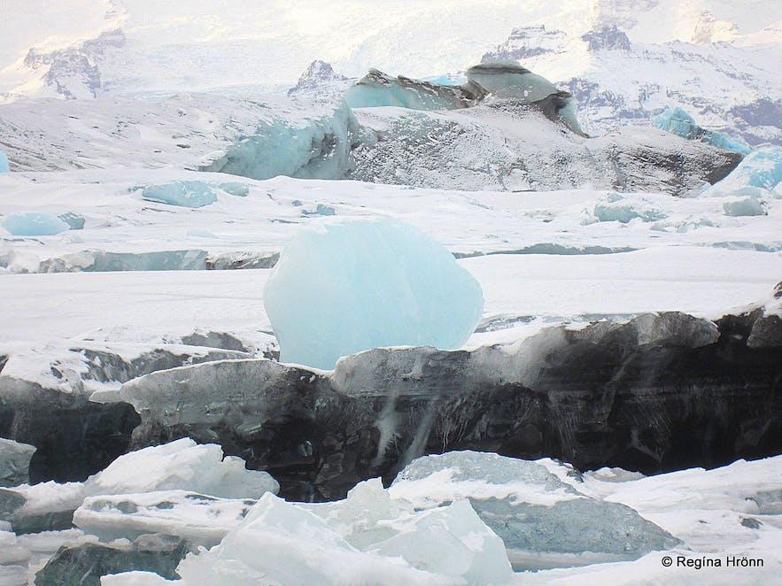 A huge blue ice-ball at Jökulsárlón glacial lagoon