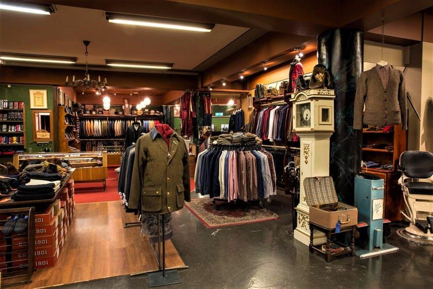 Herrafataverzlun Kormaks og Skjaldar is a gentlemens' clothing shop.