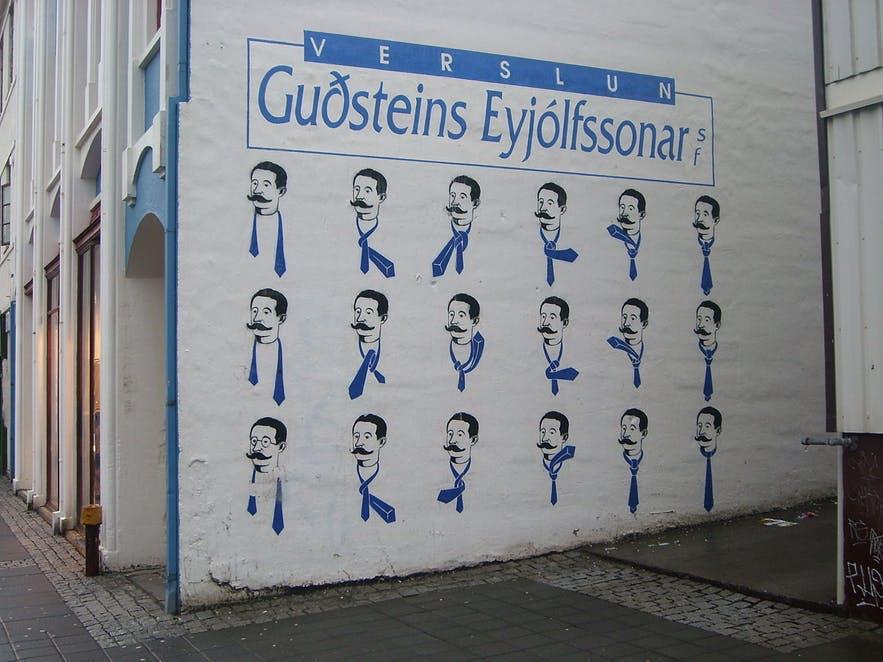 A popular mural on Laugavegur, Reykavik's main shopping street.