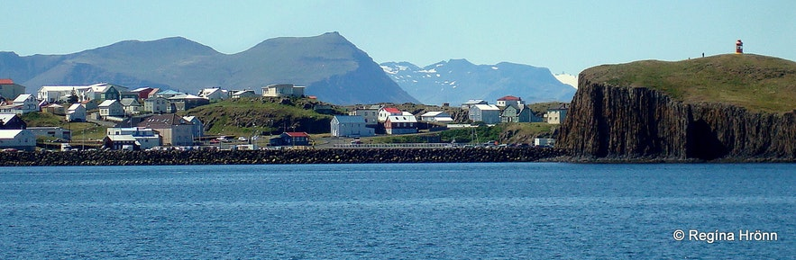 The view of Súgandisey island and Stykkishólmur from the boat