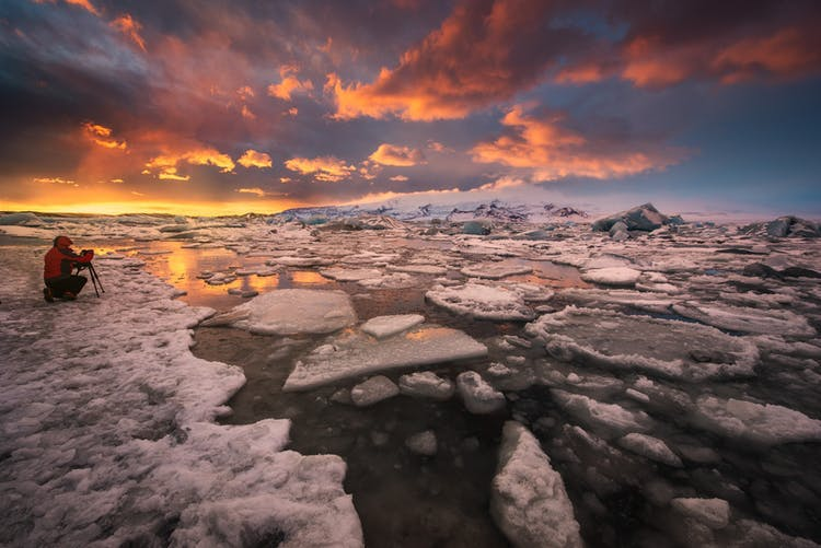 The Diamond Beach in south-east Iceland sits beside the Vatnajökull National Park.
