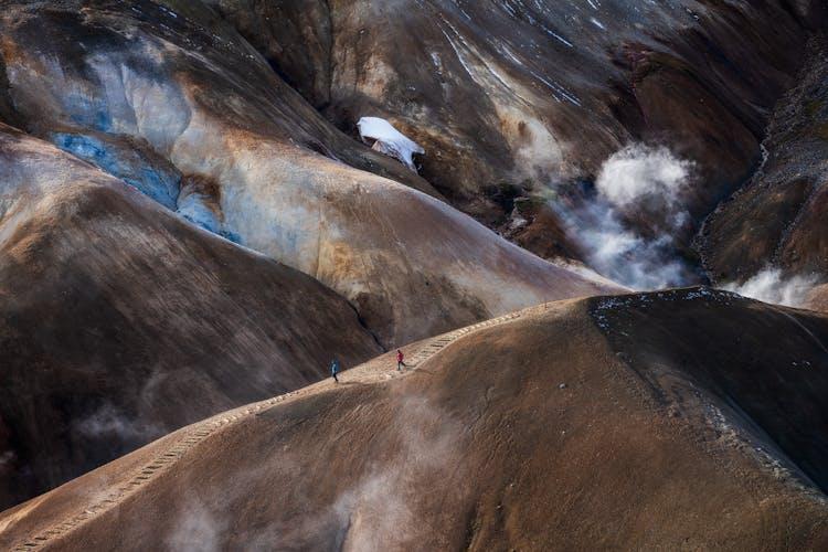 Hraunfossar, a west Iceland waterfall, trickling through a lava field in winter.