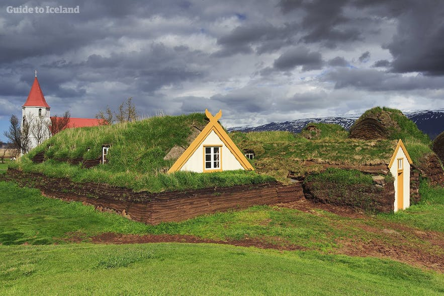 A turf home and church in Iceland.