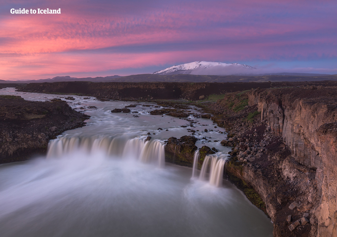 Goðafoss waterfall is located close to Akureyri town and its history matches its natural beauty.