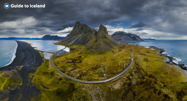 Winding roads and jagged mountains of Iceland's Eastfjords.