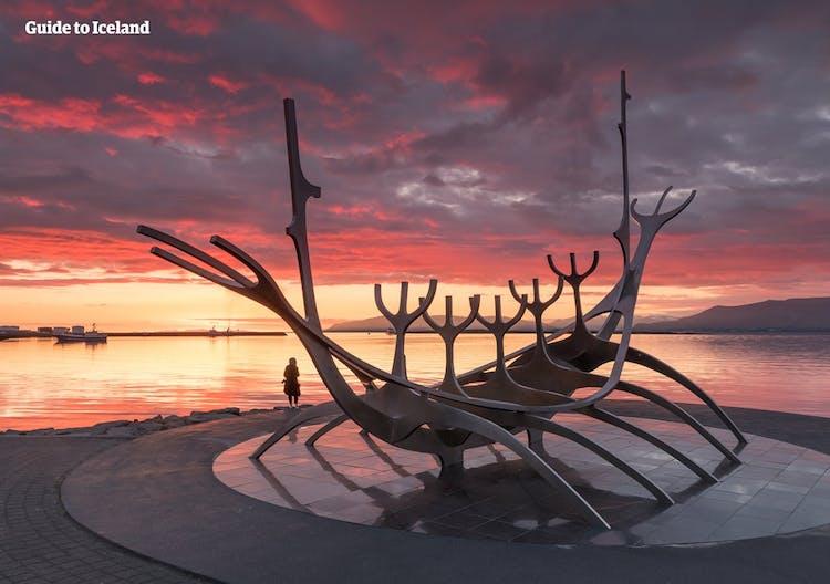 Reykjavík's Sun Voyager sculptures overlooks Faxaflói Bay and the mountain Esjan.