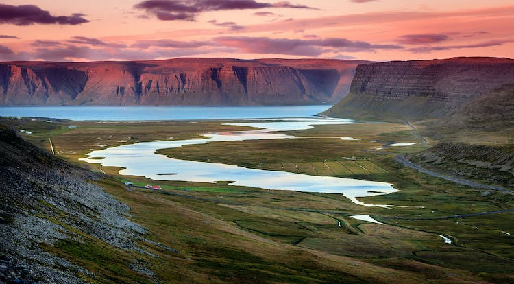 The Westfjords are known for their imposing cliffs and steep and deep fjords winding along the coastline.