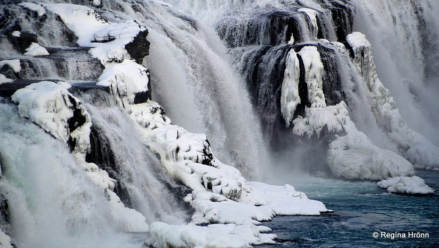The Lady in Gullfoss waterfall