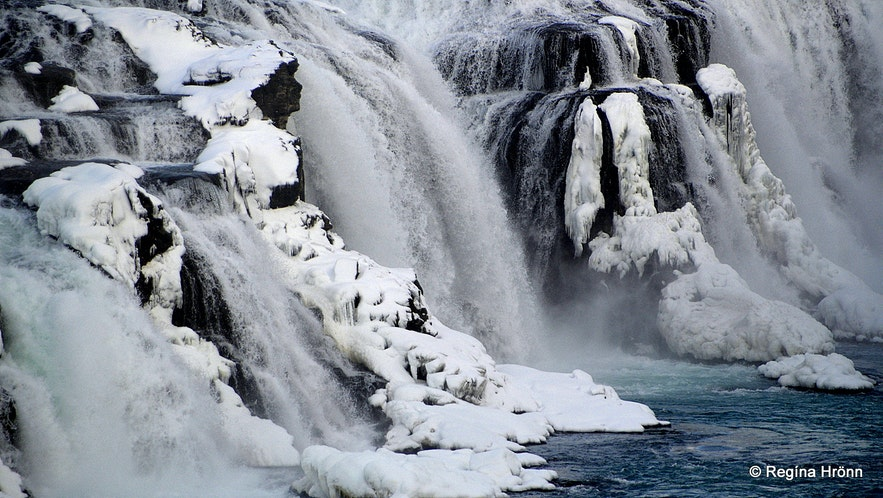 The Lady in Gullfoss waterfall in the wintertime